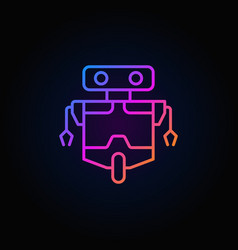 Robot line concept colorful icon on dark vector