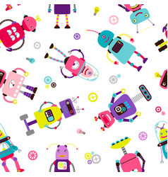 Robots or aliens kids pattern vector