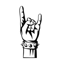 rock and roll or heavy metal hand sign vector image