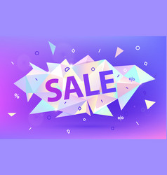 sale facet crystal banner 3d abstract vector image