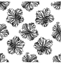 seamless pattern with black and white hibiscus vector image