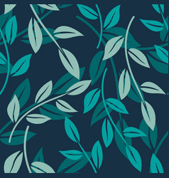 Seamless pattern with minimalistic leaves vector