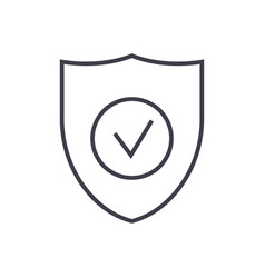 secure shield line icon sign vector image
