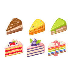set cake dessert confectionery sweets pies vector image
