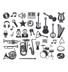 Set musical icons vector