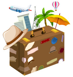 Set of travel objects vector