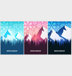 set of winter landscapes christmas forest woods vector image