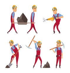 set of working people miners in different action vector image