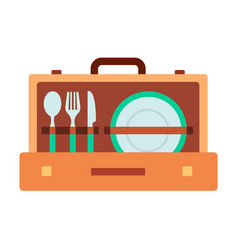 set tableware in suitcase icon flat isolated vector image