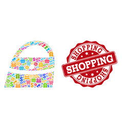 shopping bag collage of mosaic and scratched seal vector image