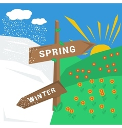 Sign spring winter with cold and warm weather vector
