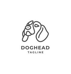 simple line art dog head logo vector image