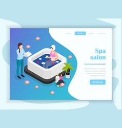 spa salon isometric landing page vector image