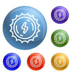 sun energy icons set vector image