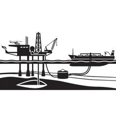 Tanker loading petrol from offshore oil rig vector