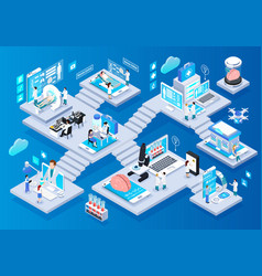 Telemedicine glow isometric composition vector