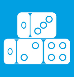 three dice cubes icon white vector image