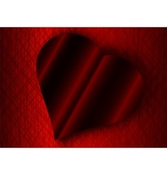 Valentine Day black heart a shadow red background vector