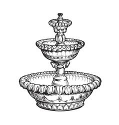 Vintage fountain Sketch vector image