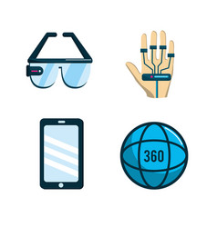 virtual reality with digital technology elements vector image