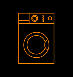 washing machine sign orange icon on black vector image