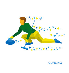 winter sports - curling player slide stone vector image