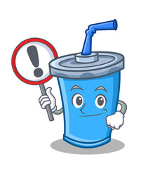 With sign soda drink character cartoon vector