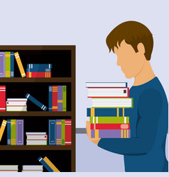 young student with books at library vector image