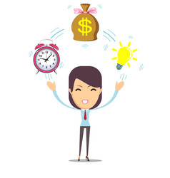 young woman and idea money time in business vector image