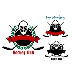 Ice hockey club emblems with sport items vector image vector image