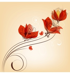 Romantic red flowers decoration in retro style vector image
