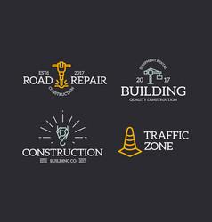 set of retro vintage construction traffic cone vector image vector image