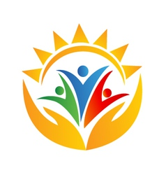 Teamwork people hands and sun logo vector image vector image