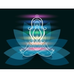 Yoga meditation woman lotus silhouette vector image vector image