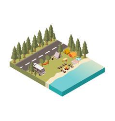 camp between road and lake vector image vector image