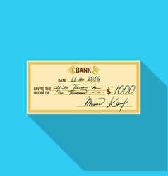 cheque icon in flat style isolated on white vector image vector image