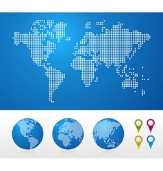 Dotted World maps and globes vector image