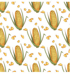 hand drawn sketch ear of corn seamless pattern vector image vector image
