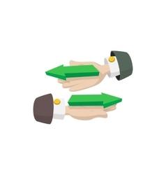Hand with arrows icon cartoon style vector