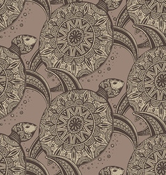 seamless pattern Hand drawn brown doodle turtles vector image vector image