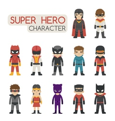 Set of super hero costume characters vector image vector image