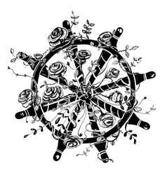 Steering Wheel with Roses vector image vector image