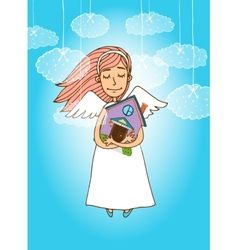 Cute angel holding a house vector image vector image