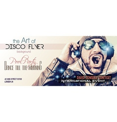 Disco Night Club Flyer layout with DJ shape and vector image vector image
