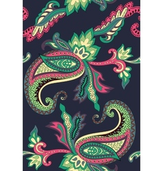 Paisley pattern on black background vector image