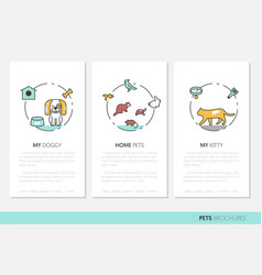 pets business brochure linear thin line icons vector image vector image
