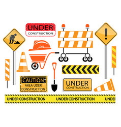under construction sign and icon set vector image vector image