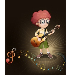 A talented boy with a guitar vector image vector image
