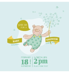 Baby Arrival Card - Baby Bear with Flower vector image vector image