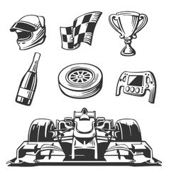 Car race icons set Helmet wheel tire vector image